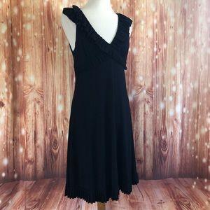Cynthia Rowley Black Ruffle Detail V Neck Dress